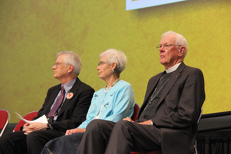 The Rev. Herbert Chilstrom, first/former presiding bishop of the ELCA, and his wife the Rev. E. Corine Chilstrom sit with David Swartling, secretary of the ELCA.