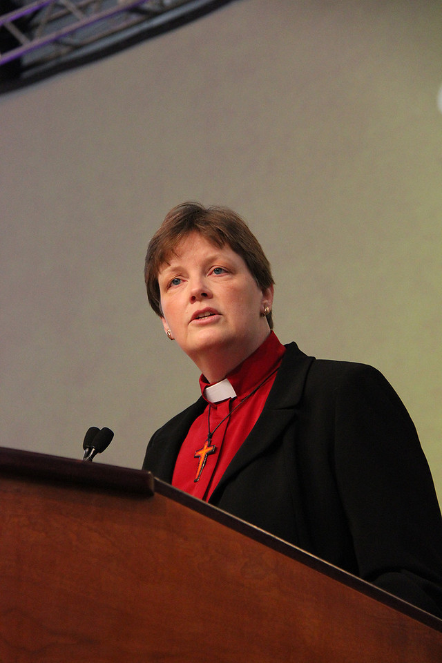 The Rev. Kathryn Gerking, nominee for secretary, responds to questions.