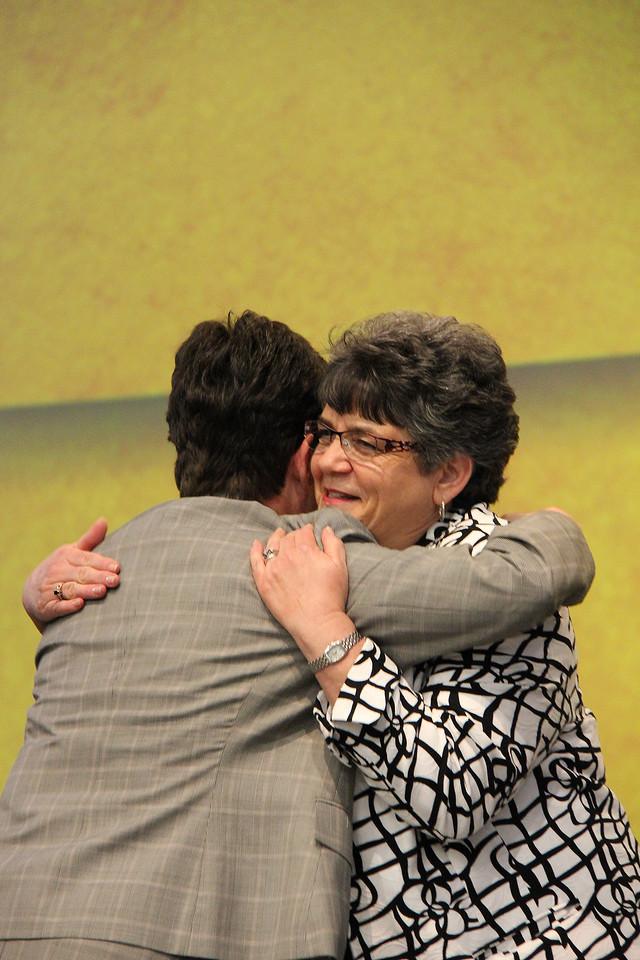 The Rev. Elizabeth A. Eaton, bishop-elect, hugs Mrs. Boerger.