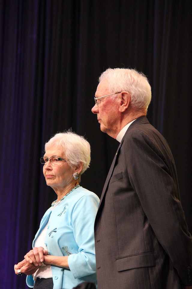 The Rev. Herbert Chilstrom, first/former presiding bishop of the ELCA, and his wife the Rev. E. Corine Chilstrom are recognized as part of the 25th anniversary of the ELCA.