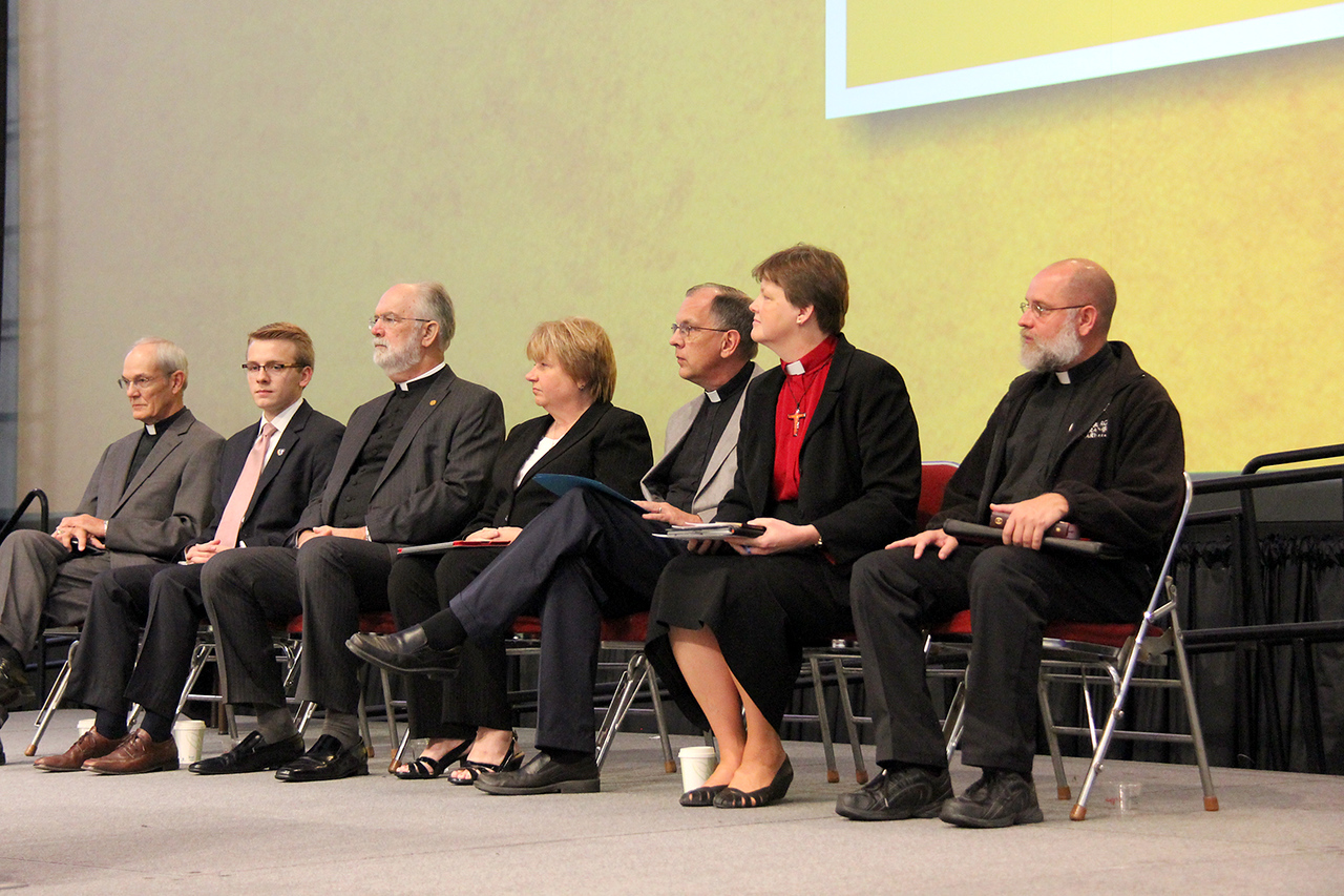 Nominees for secretary of the ELCA wait to respond to questions.