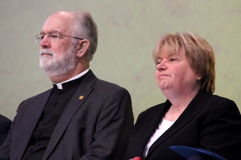 The Rev. Wm. Chris Boerger and Cheryl Stuart wait to respond to questions.