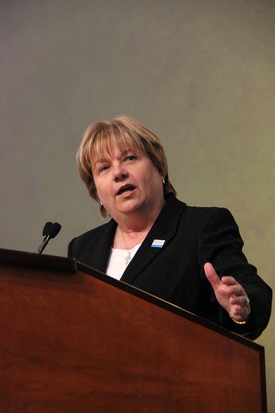 Cheryl Stuart, nominee for secretary, speaks to the Assembly.