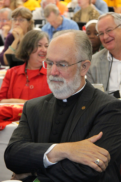 The Rev. Wm. Chris Boerger, nominee for secretary, waits for election results.