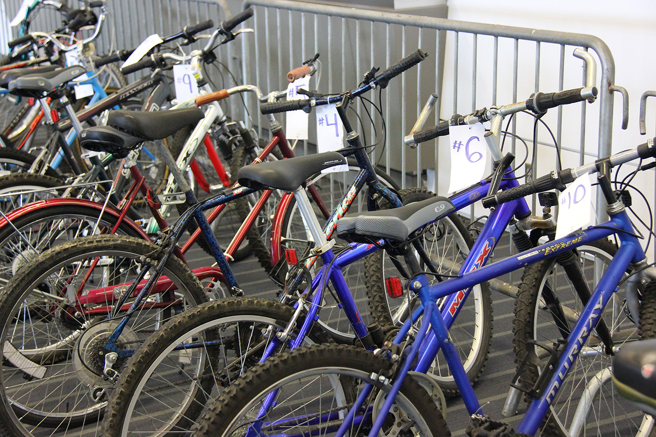 Refurbished bicycles provide optional transportation for voting members and volunteers.