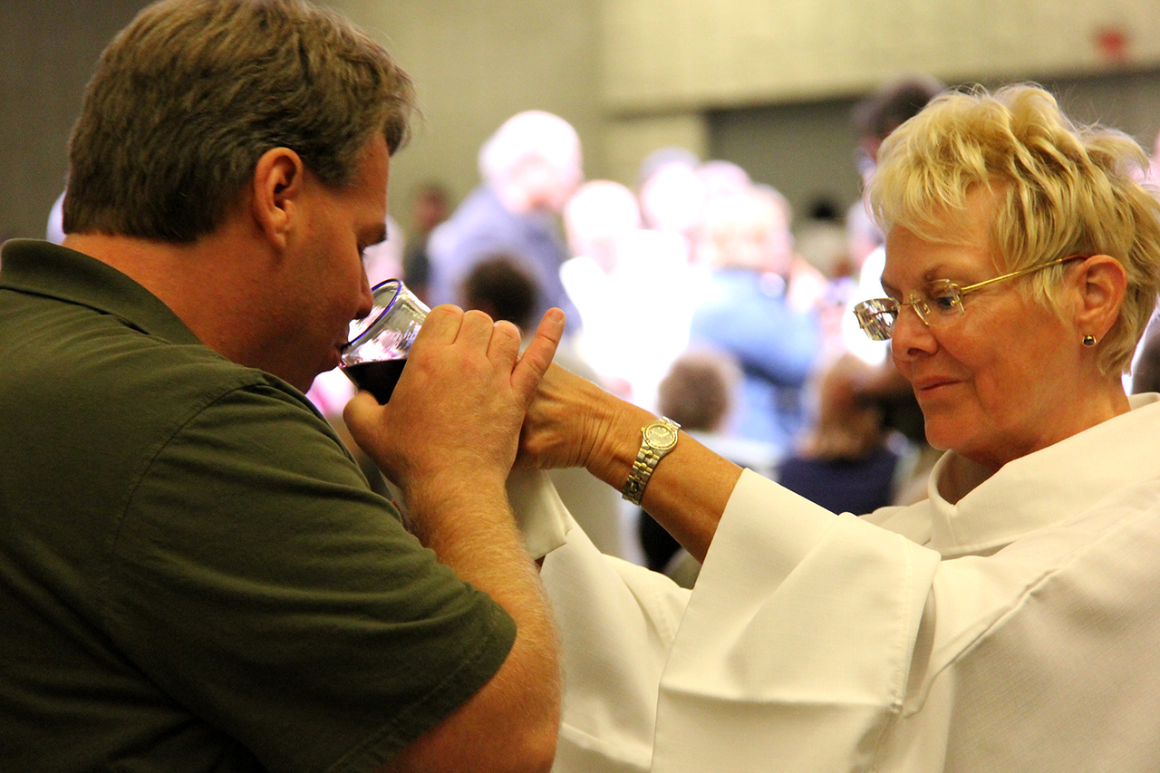 Communion is shared on Monday evening.