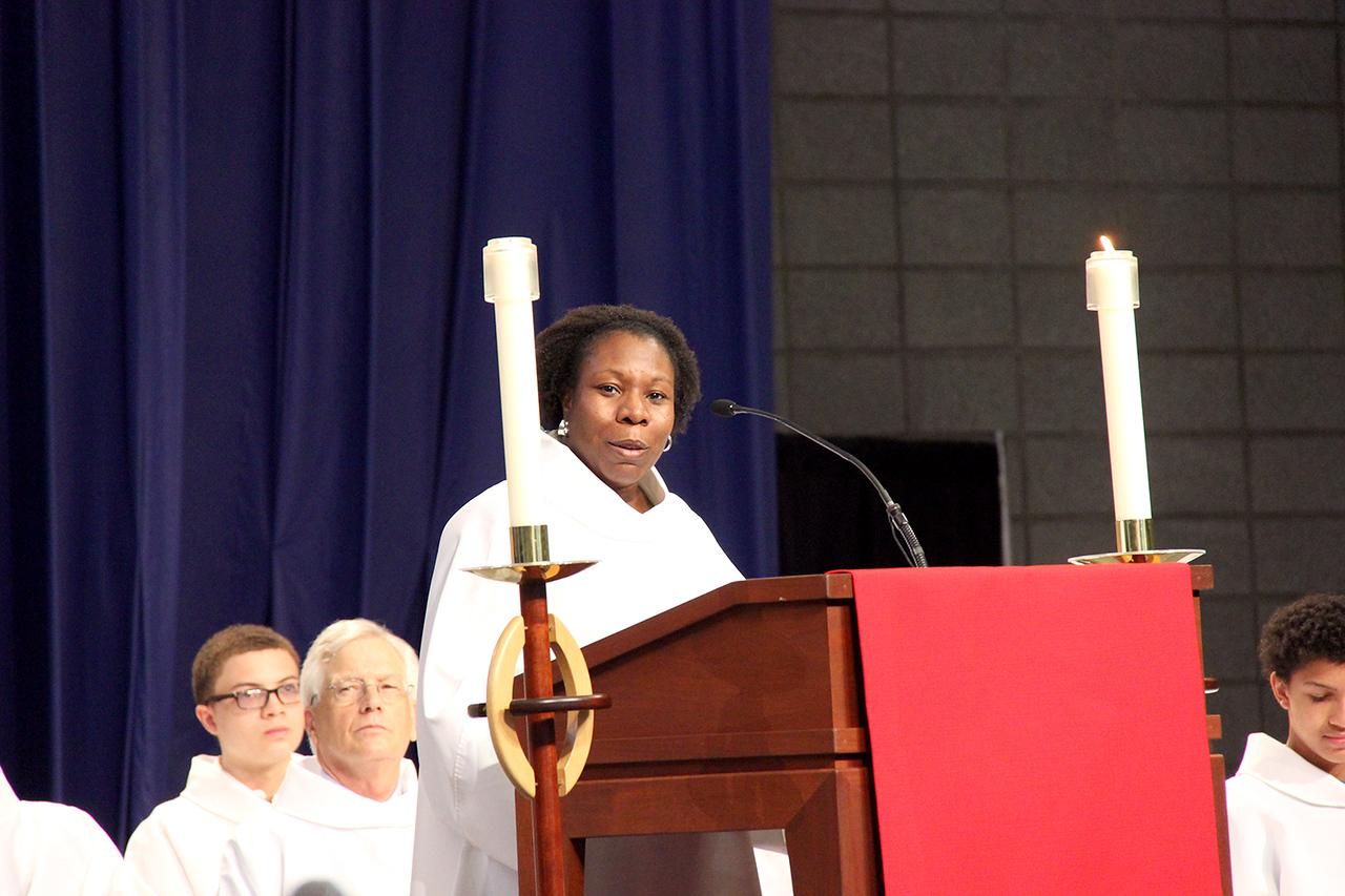 The Rev. Linda Norman, treasurer of the ELCA, shares a reading.