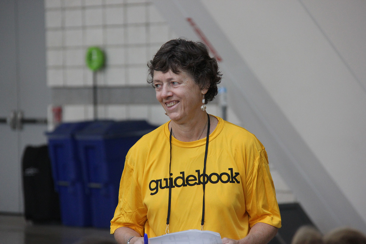 Janet Franzen, volunteer coordinator, works with the 2013 Assembly Guidebook.