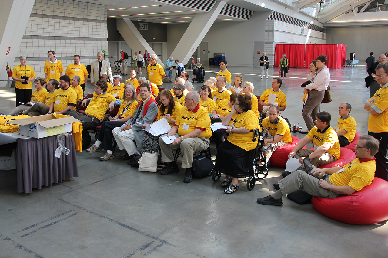 Volunteers are trained to assist with the 2013 Assembly Guidebook.