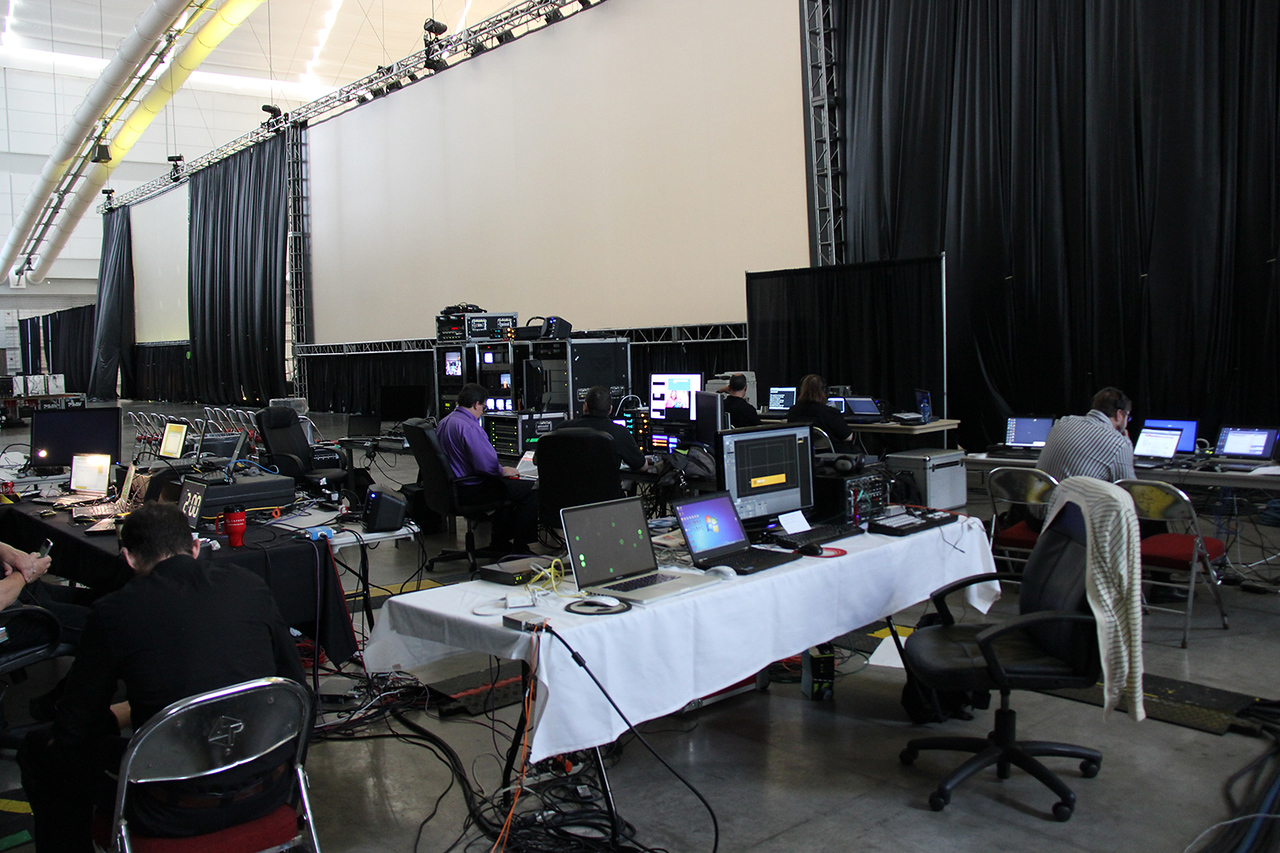 Production behind the stage at the assembly.