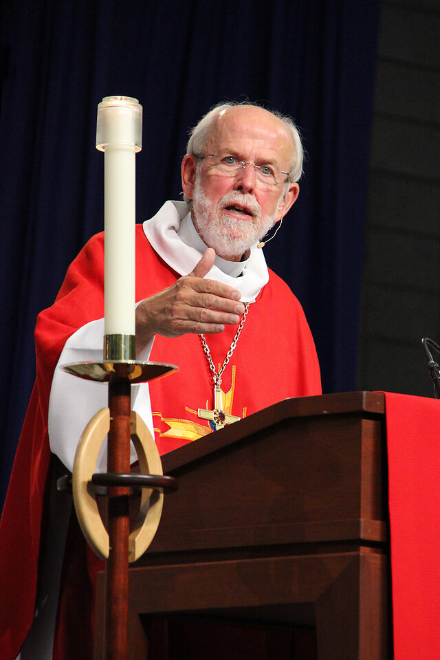 Presiding Bishop Mark S. Hanson shares a message during worship.