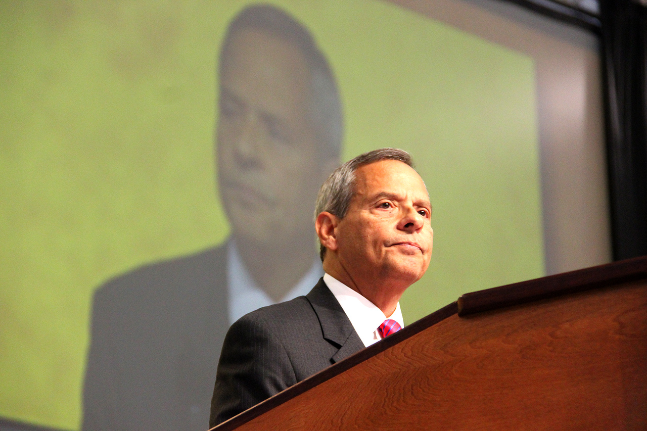 Carlos E. Peña, vice president of the Evangelical Lutheran Church in America, addresses the voting members.