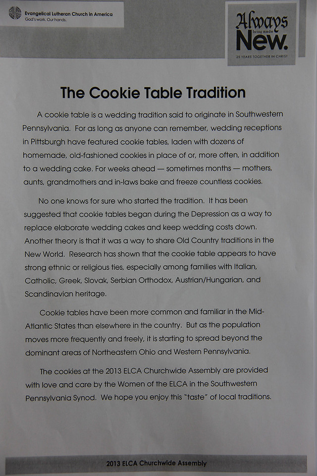 The cookie table tradition is shared with the Assembly by the Women of the ELCA in the Southwestern Pennsylvania Synod.