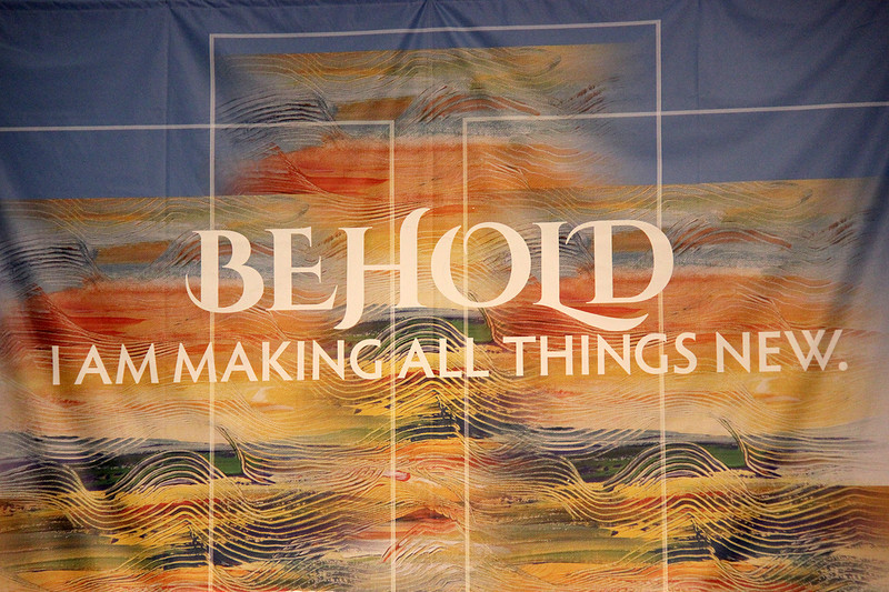 A banner hangs in the worship space.