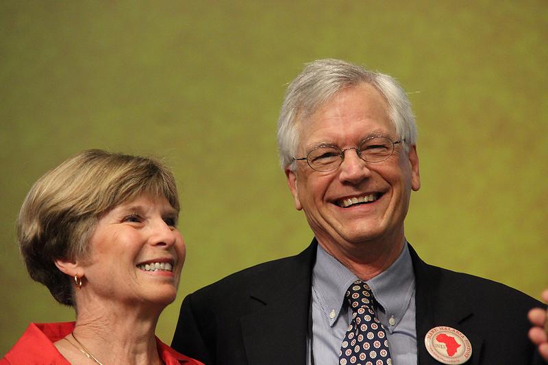 David and Barbara Swartling smile after the award presentation.