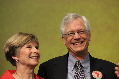 David and Barbara Swartling smile after the award presentation.
