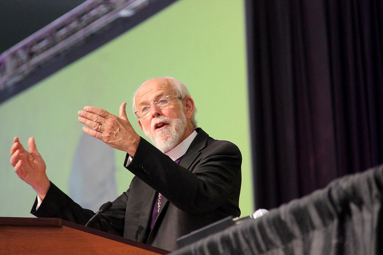 The Rev. Mark S. Hanson presents the report of the presiding bishop.