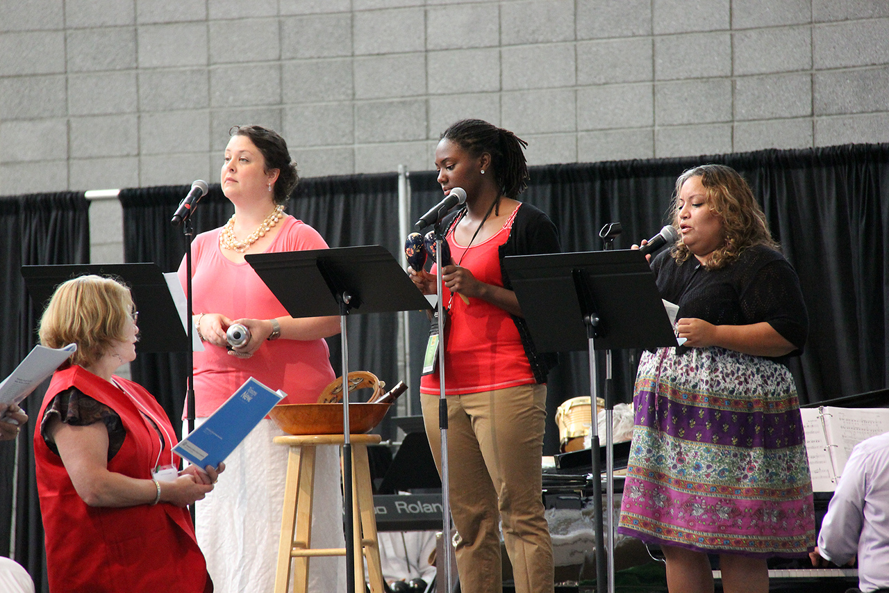 Singers perform during worship.