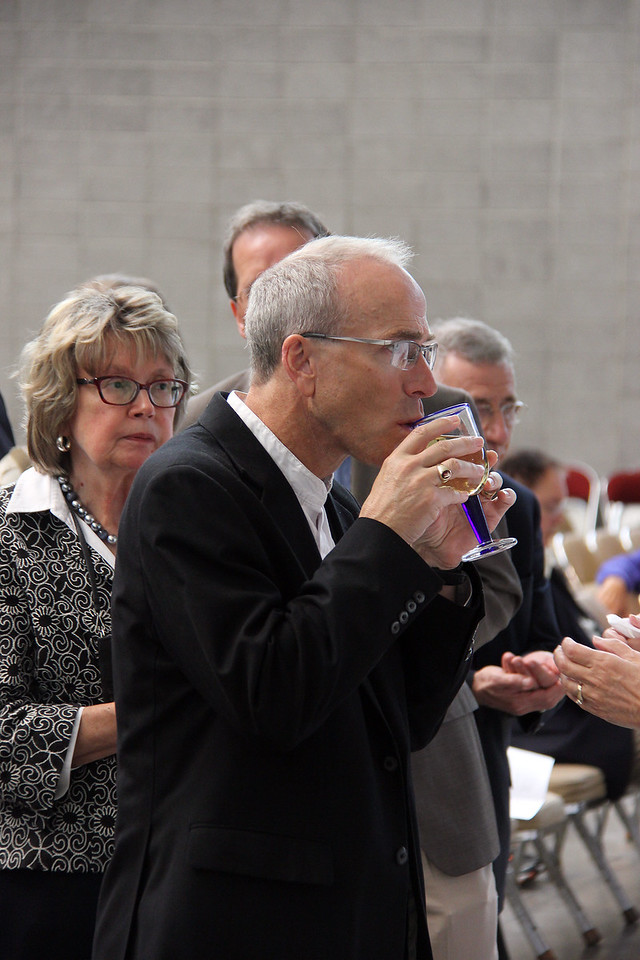 Communion is shared during worship on Thursday morning.
