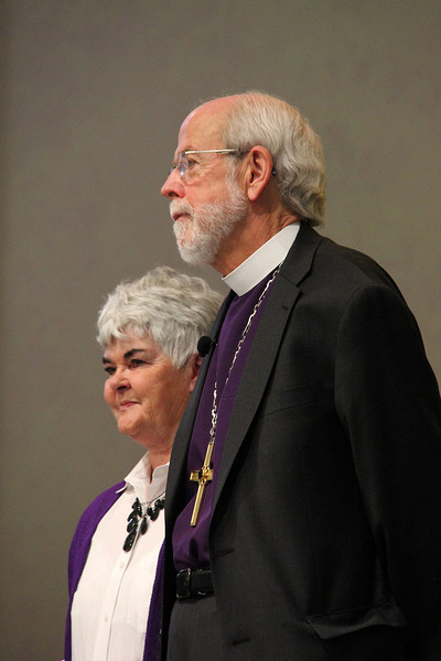 Presiding Bishop Mark S. Hanson and his wife, Mrs. Ione Hanson, listen to the applause and appreciation of the Assembly.
