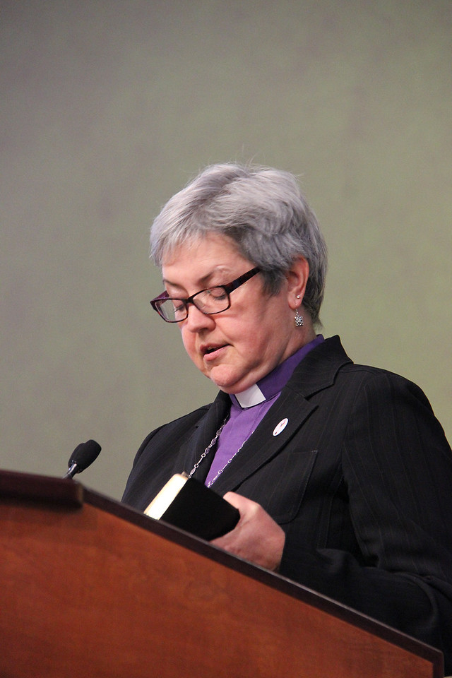 Bishop Susan Johnson, the national bishop of the Evangelical Lutheran Church in Canada and the Lutheran World Federation Vice-President for North America, greets the Assembly and commemorates the 25th anniversary of the ELCA.