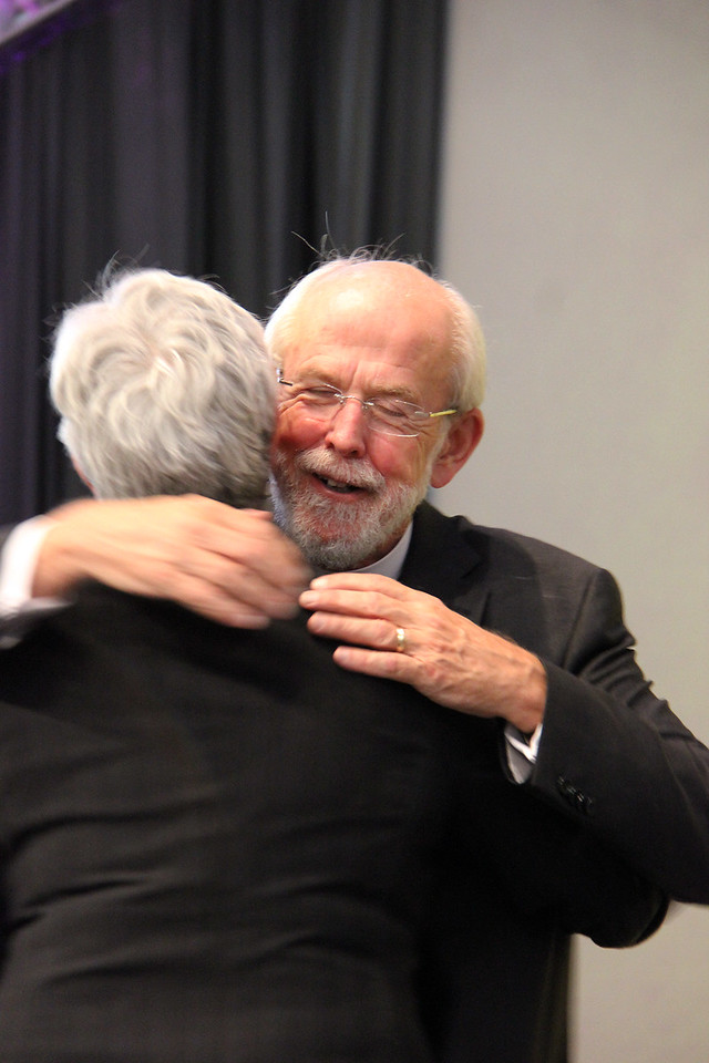 Bishop Susan Johnson, the national bishop of the Evangelical Lutheran Church in Canada, hugs Presiding Bishop Mark S. Hanson.
