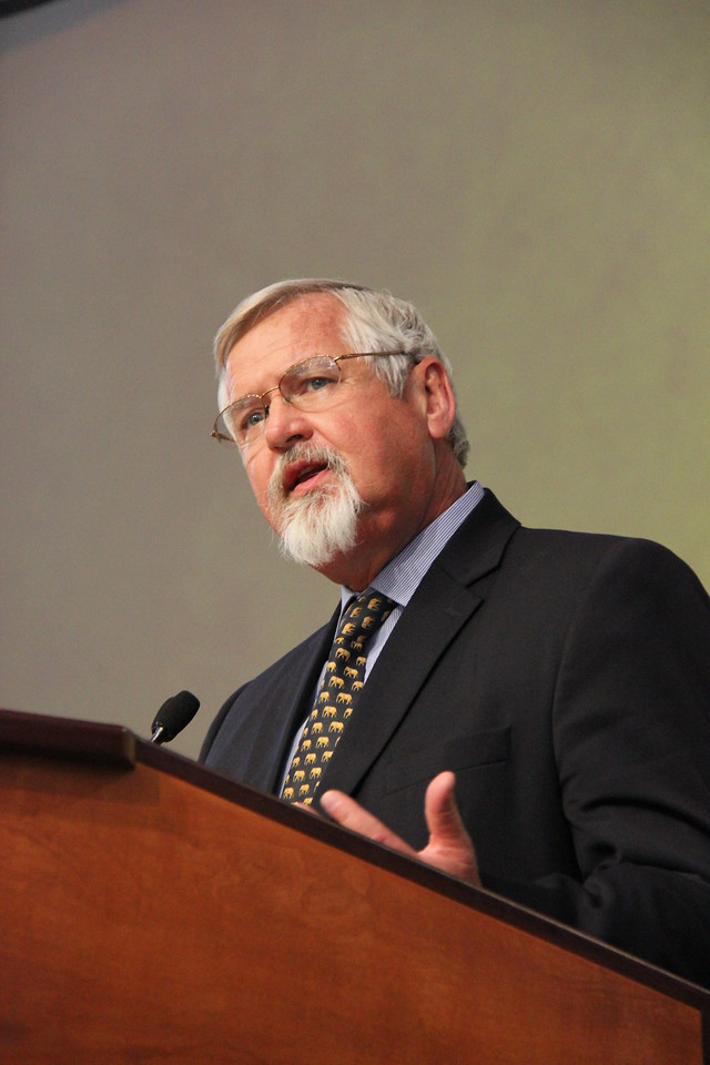 Dr. Mark Jacobson, medical missionary in Tanzania, speaks to the Assembly.