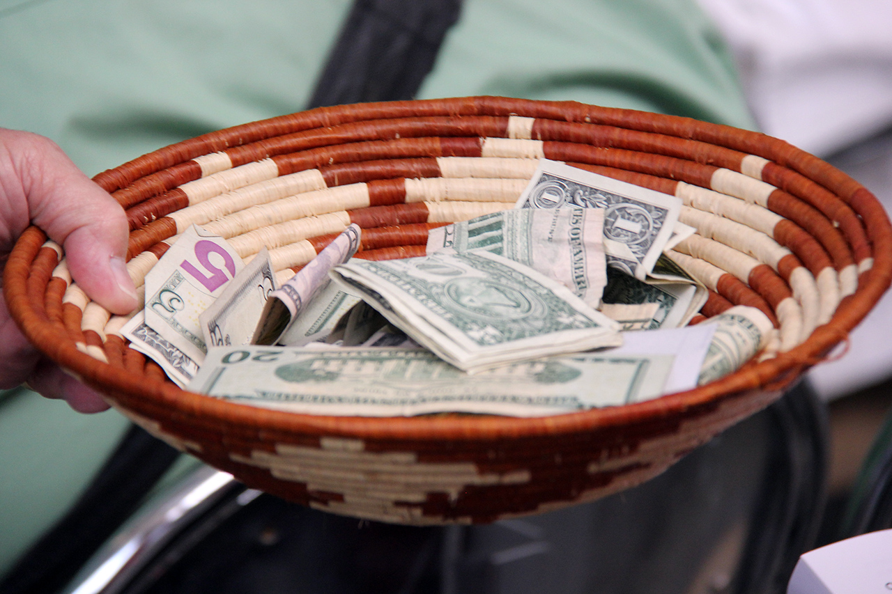 An offering is taken each day during worship to support ELCA ministries.