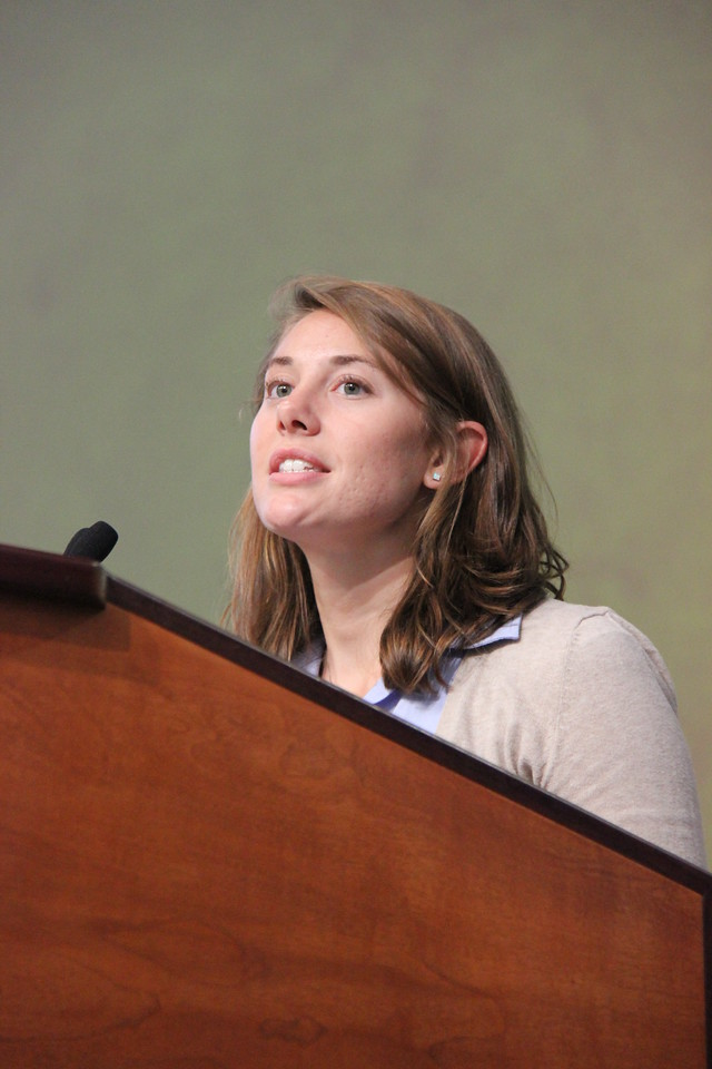 Elizabeth Frey, former young adult in global mission, speaks to the Assembly.