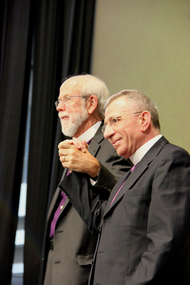 Presiding Bishop Mark S. Hanson and Bishop Munib Younan are on stage at the Assembly.
