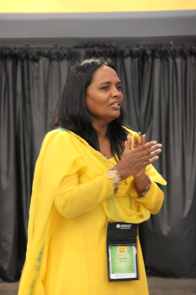 Sunitha Mortha reacts to the global church presentation.