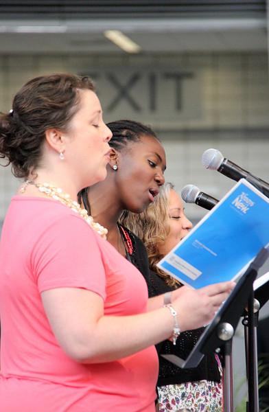 Singers perform during worship.