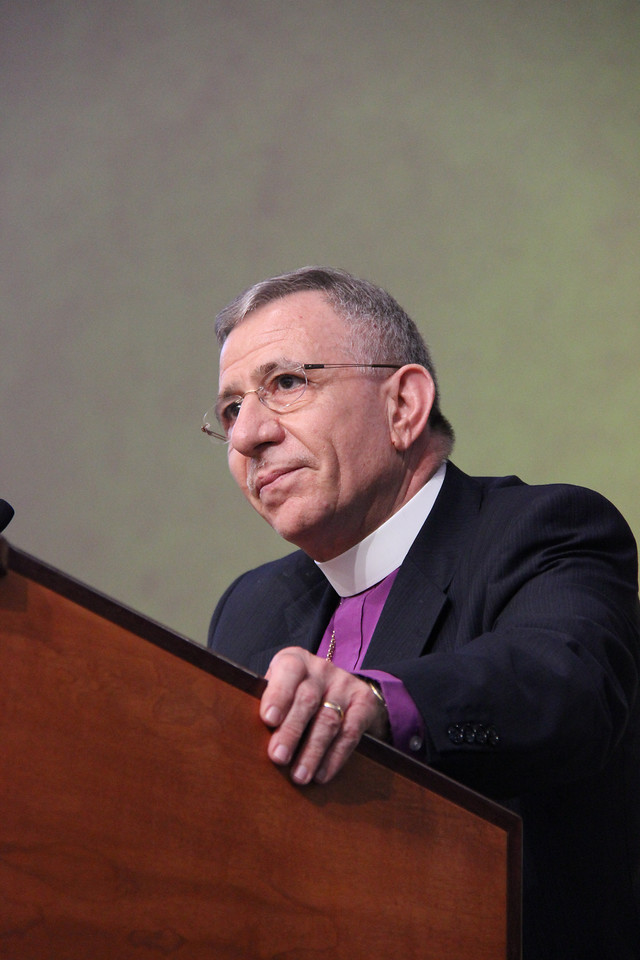 Bishop Munib Younan of the Evangelical Lutheran Church of Jerusalem and the Holy Land and president of the Lutheran World Federation speaks to the 2013 Churchwide Assembly.