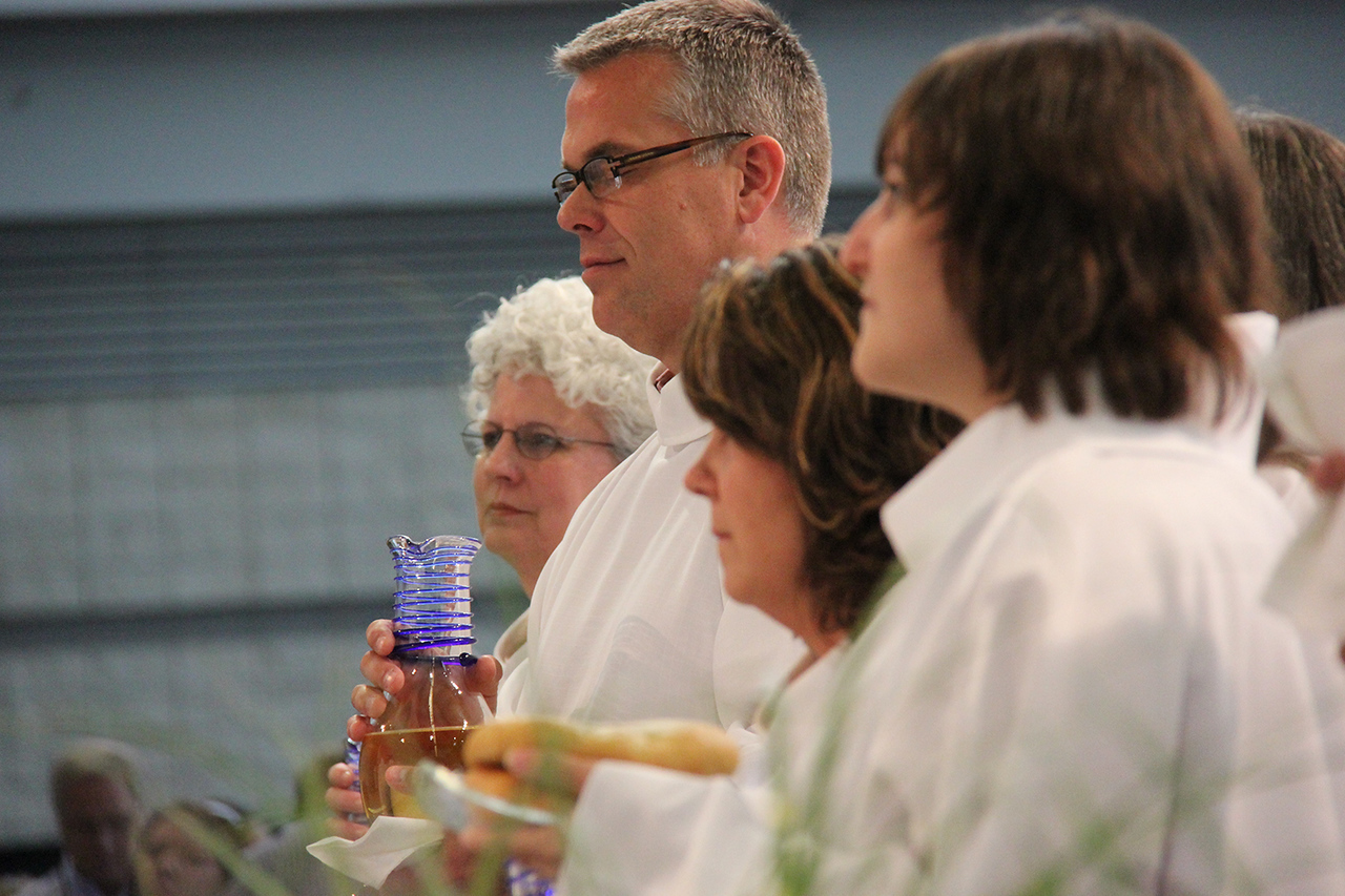 Communion is shared during worship on Tuesday morning.