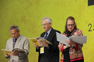 Carlos E. Peña, vice president of the ELCA, David Swartling, secretary of the ELCA, and the Rev. Rachel Connelly, a member of Church Council from North Carolina, lead the Assembly.