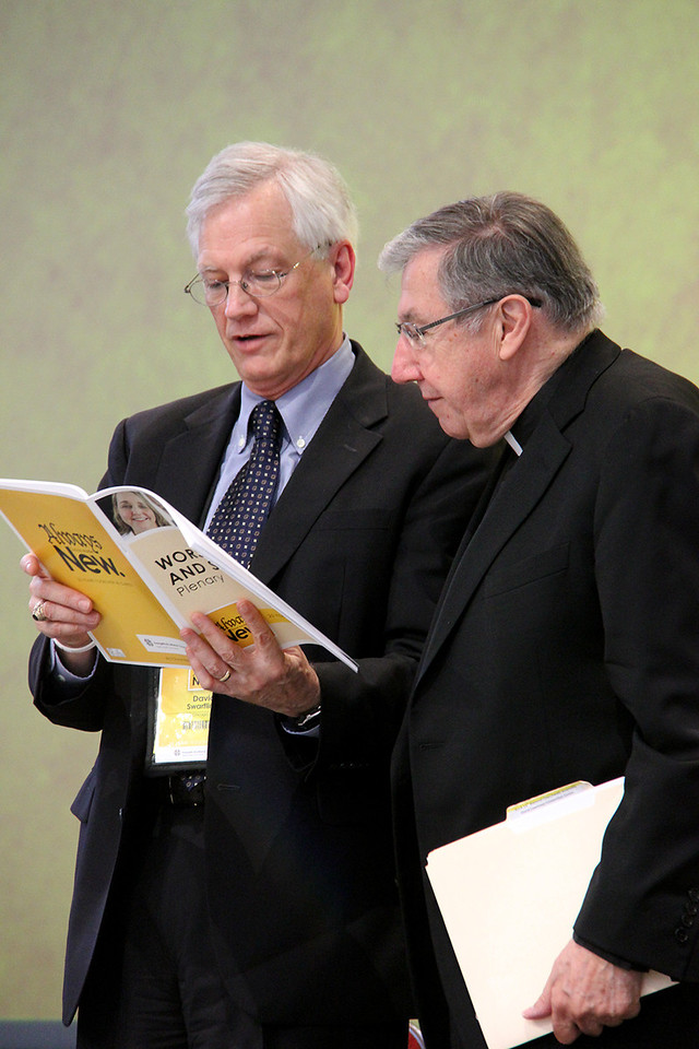 David Swartling, secretary of the ELCA and Bishop Denis Madden, Auxiliary Bishop for the Archdiocese of Baltimore participate in the afternoon plenary.
