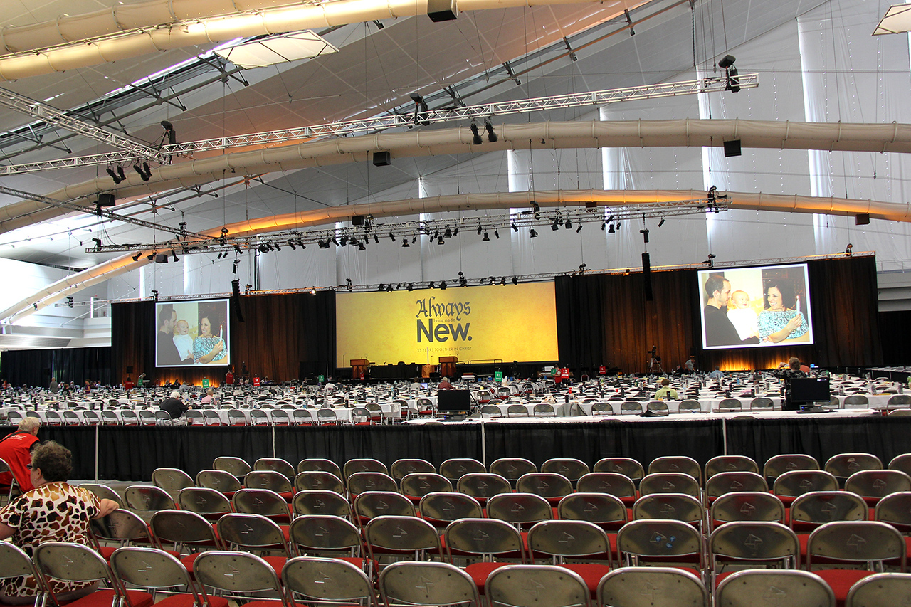 The main plenary hall is ready for the afternoon session on Tuesday, August 13.