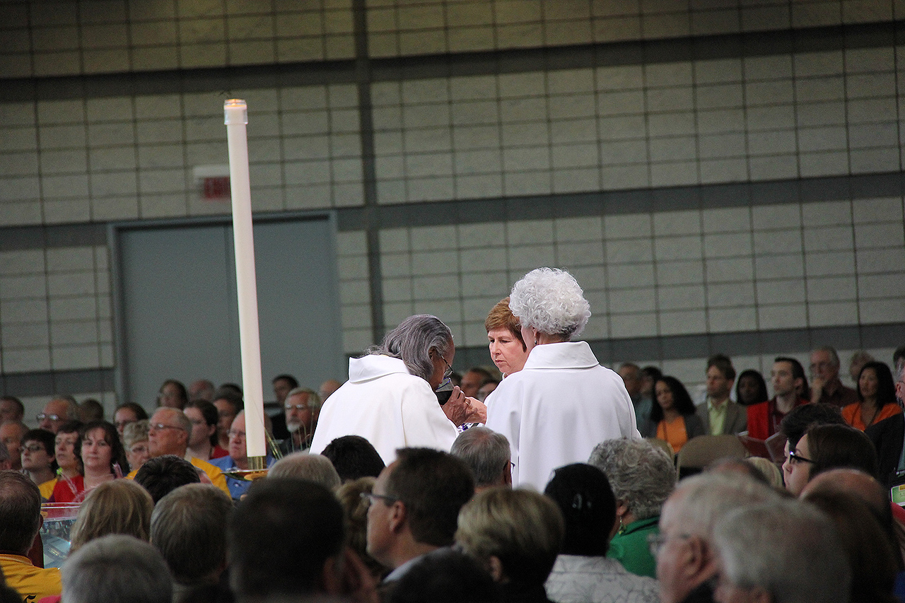 Communion is shared during worship on Wednesday morning.
