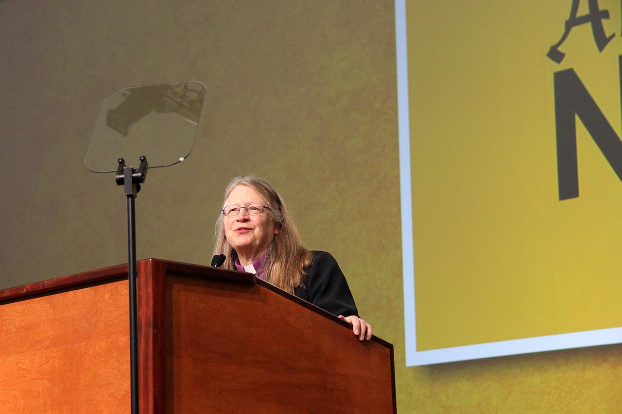 Bishop Jessica Crist, nominee for presiding bishop, addresses the Assembly.