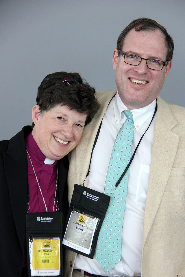 The Rev. Elizabeth A. Eaton, bishop-elect, and her husband, the Rev. Conrad Selnick pose after a press conference.