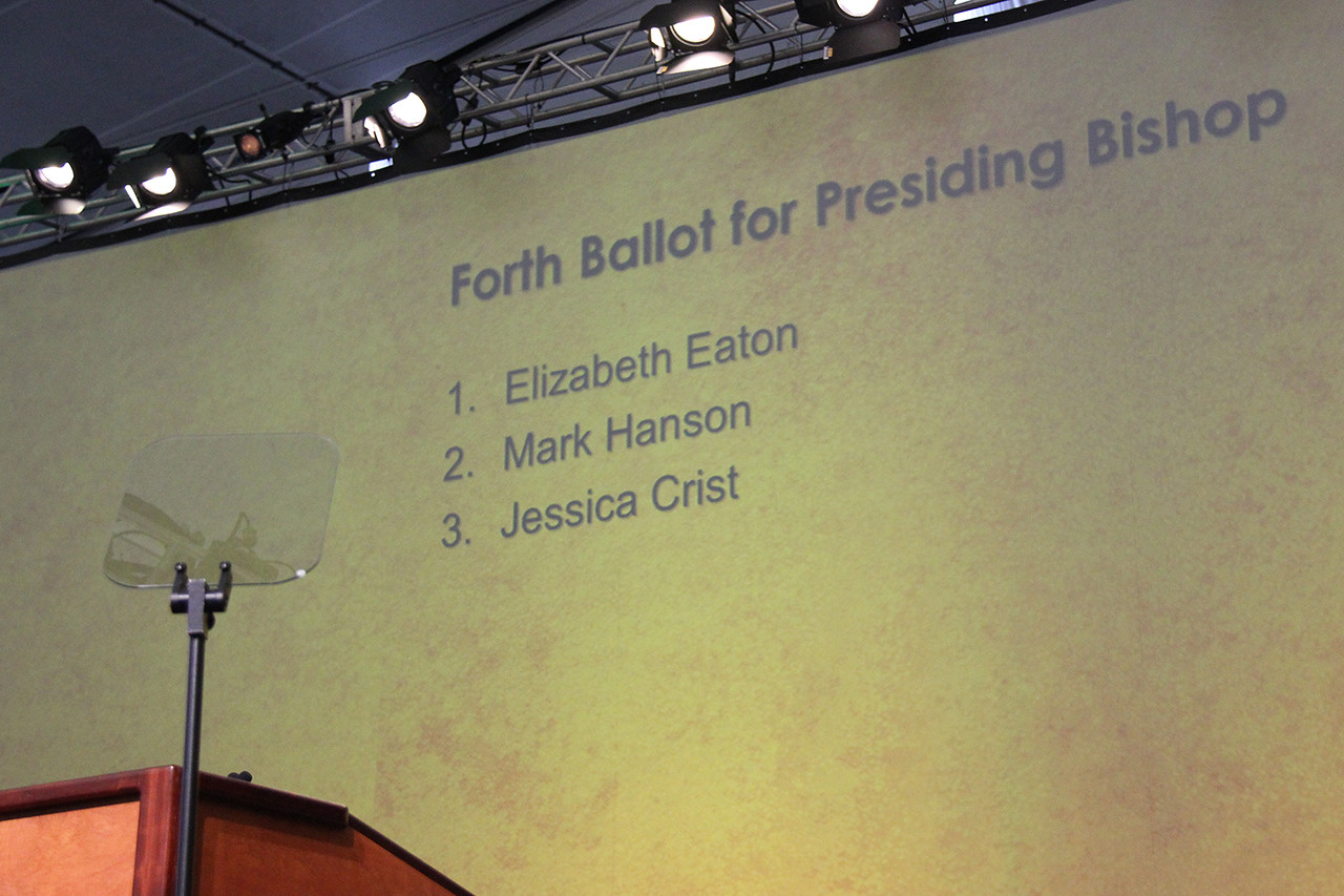 Results are shared from the fourth ballot for presiding bishop.