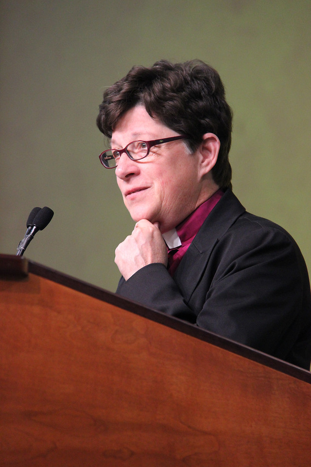 Bishop Elizabeth Eaton, nominee for presiding bishop, addresses the Assembly.