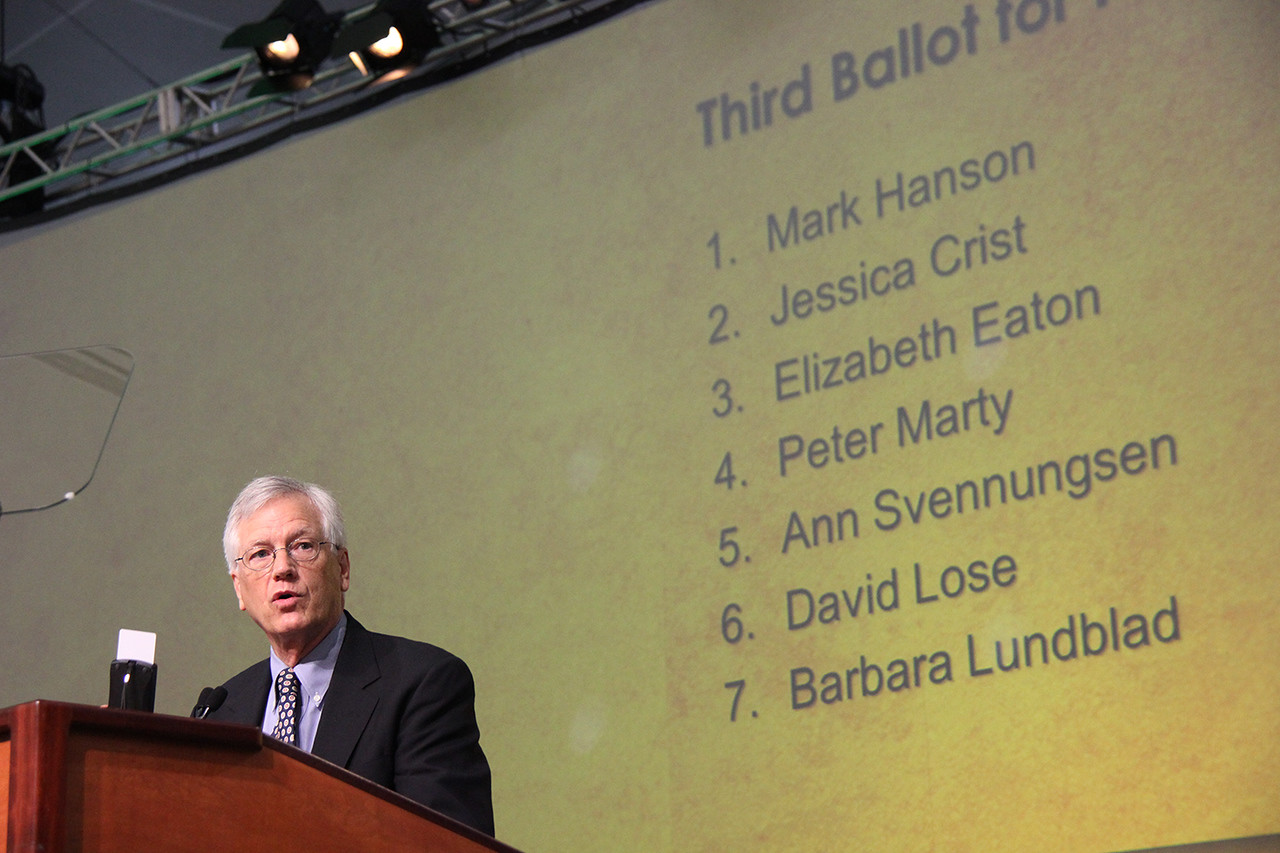David Swartling, secretary of the ELCA, shares a list of nominees for presiding bishop.