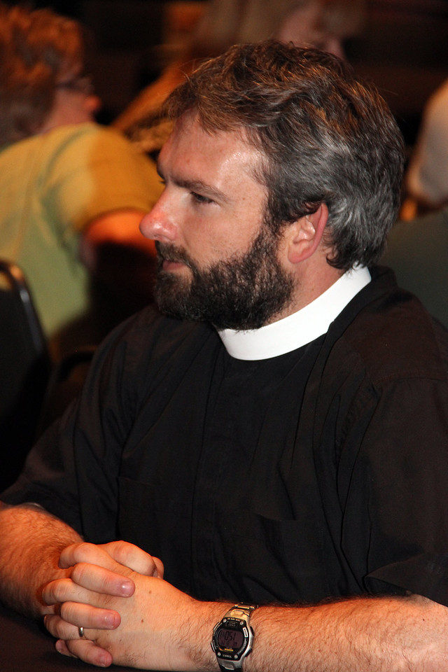 The Rev. Jonathan Vehar, Zion-American Lutheran Church in Scotland, S.D., participates in Bible study.
