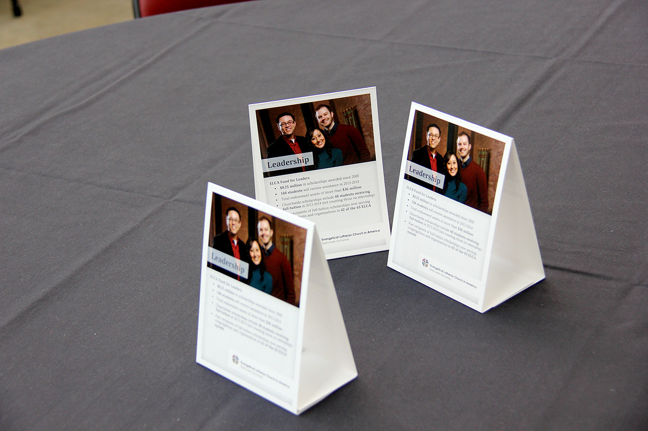 Leadership benefits are highlighted on the table tents placed on the lunch tables.