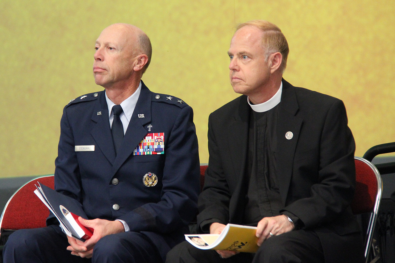 Chaplain, Major General Howard D. Stendahl, Chief of Chaplains for the United States Air Force and Pastor Eric Wester, assistant to the presiding bishop and director of Federal Chaplaincies listen as information is shared about The Prayer Book for the Armed Services.
