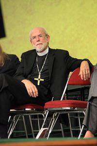 Presiding Bishop Mark Hanson listens to the response from Bishop Elizabeth Eaton.