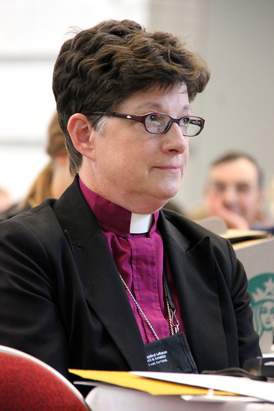 Bishop Elizabeth Eaton hears the result of the fourth ballot for presiding bishop.