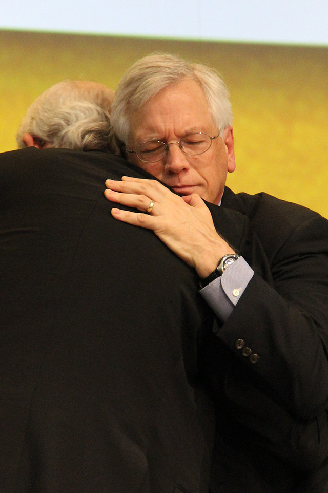 David Swartling, secretary of the ELCA, hugs Presiding Bishop Mark S. Hanson at the conclusion of the election.