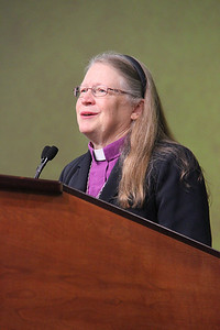 Bishop Jessica Crist, nominee for presiding bishop, responds to questions.